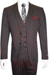 Mens Bold Gangster 1920s Vintage Gangster Bold Stripe 2 Button Vested Suit Black