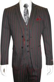 Male Black and Red Pinstripe Chalk Custom Looking Pimp Mobster 1930 Two
