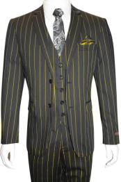 and Gold ~ Yellow Pinstripe Chalk Custom Looking Pimp Mobster 1930 Two buttons Vested 3 Pieces