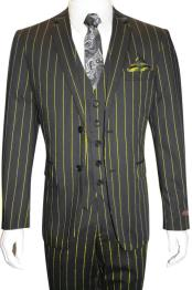 Bold Gangster 1920s Vintage Gangster Bold Stripe 2 Button Vested Suit Black Pre order Collection For August/1/2021