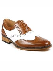Mens Two Tone Wing Tip Lace up Oxford Tan / Brown / White Dress Shoes