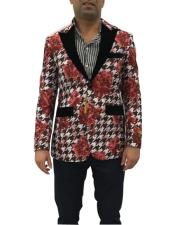Red Floral Pattern Cheap Priced Designer Fashion Dress Casual Blazer On