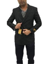 Double Breasted Polka Dot Black Cuff Link Blazer Sport Coat Blazer