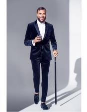 Velvet Suit Tuxedo Dinner Jacket + Same Fabric Pants Suit Black Lapel Blazer Sport Coat Dark Navy