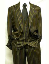 Mens Black ~ Gold Stripe ~ Pinstripe Gangster Bold Single Breasted Vest Two Button Notch Lapel Suit