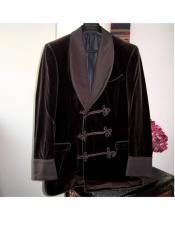 Double Breasted Tuxedo Velvet Flap Front Pockets Burgundy Suit