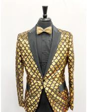 Mens Single Breasted Peak Lapel Slim Fit Gold ~ Black Sequin Shiny Flashy Stage ~ Prom Fancy