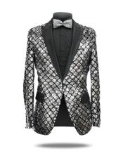 Silver ~ Black One Button Slim Fit Cheap Priced Designer Fashion Dress Casual Blazer On Sale Sequin