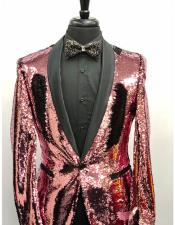 Gold Tuxedo Sequin Shiny Flashy Stage ~ Prom Fancy Pinkish Blazer