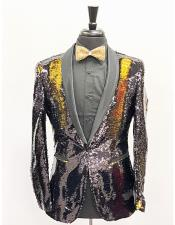 Mens Slim Fit Gold ~ Black Shawl Lapel Single Breasted One Button Sequin Shiny Flashy Stage ~