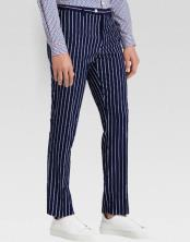 Men's slacks Dark Navy Blue Ganagster Chalk Striped ~ Pinstripe 1920s Style