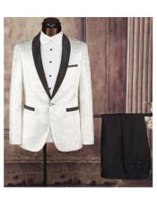 Cream Single Breasted Shawl Lapel One Button Fabric Tuxedo