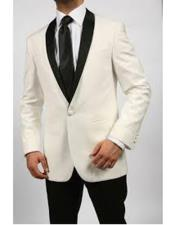 Mens One Button Shawl Lapel Single Breasted Ivory ~