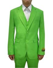 Colorful Alberto Nardoni Mens Vested 3 Piece Suit Apple Green