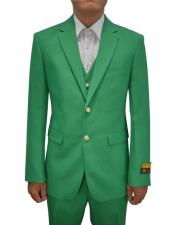 Mens Augusta Green Vested 3 Piece Suit