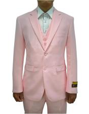 Mens Pink Vested 3 Piece Suit