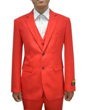 Mens Red Flap Two Pockets Vested 3 Piece Suit