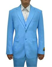 Mens Turquoise One Chest Pocket Vested 3 Piece Suit