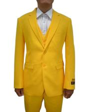 FESTIVE Colorful Alberto Nardoni Mens Vested 3 Piece Suit Yellow