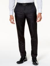 ~ Velour Black Tonal Paisley Pants Flat Front Slack
