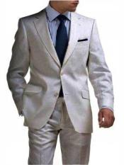 & Boys Sizes Light Weight 2 Button Tapered Cut Half Lined Flat Front Linen Suit Vented Silver