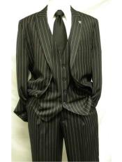 3 Piece Gangster Stripe Mars Vested Fashion Suit Black Mens Suit Separate Any Size Jacket & Pants