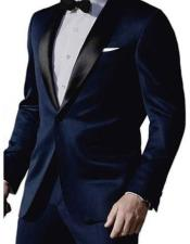 Satin Shawl Lapel 1 Button Dark Navy Blue Tuxedo Suit Mens