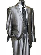 Button Silver Grey ~ Gray Flashy Sharkskin Mens Suit Separate Any