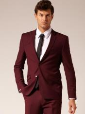 Button Style Suit Burgundy ~ Maroon ~ Wine Color flat front