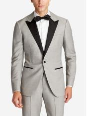 Mens  Slim Fit Peak Lapel Wool Grey Tuxedo Suit Jacket