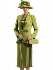 Womens Peach Skin 3Pcs Olive Suit