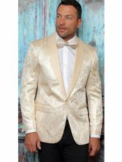 One Button Floral Designed Shawl Lapel Beige Tuxedo Dinner Jacket