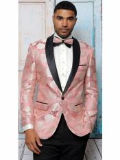 Mens One Button Modern Fit Floral Embroidered Shawl Lapel Pink Tuxedo Dinner Jacket