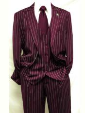 Gangster Bold PinStripe Stripe Chalk Pinstripe Vested 3 Piece Fashion Suit