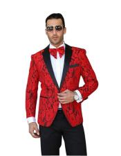 Mens Red Single Breasted Notch Lapel Floral Pattern Paisley Sport Coat Blazer Dinner Jacket