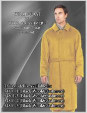 Dress Coat Alberto Nardoni Brand Belted Full Length Overcoat ~ Topcoat 45 Inches Wool Single Breasted