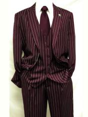 Dark Burgundy ~ White Gangster Bold PinStripe Mars Vested 3 Piece