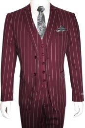 Mens Bold Gangster 1920s Vintage Burgundy ~ White Gangster Bold Stripe 2 Button Vested Suit