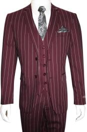 Mens Bold Gangster 1920s Vintage Maroon ~ White Gangster Bold Stripe 2 Button Vested Suit