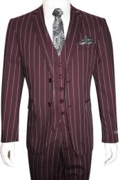 Mens Bold Gangster 1920s Vintage Dark Burgundy ~ White Gangster Bold Stripe 2 Button Vested Suit