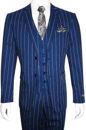 Mens Bold Gangster 1920s Vintage Royal Blue ~ White Gangster Bold Stripe 2 Button Vested Suit