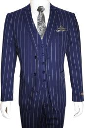 Mens Bold Gangster 1920s Vintage Dark Navy Blue ~ White Gangster Bold Stripe 2 Button Vested Suit