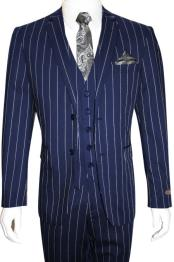 Mens Bold Gangster 1920s Vintage Navy Blue ~ White Gangster Bold Stripe 2 Button Vested Suit
