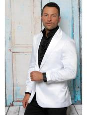 Shiny Flashy Satin Solid Blazer ~ Sport Coat  white Available