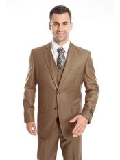 Mens 3 Piece  Slim Fit  Taupe Suit