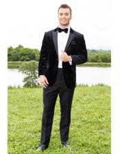 Black Peak Lapel One Chest Pocket Tuxedo