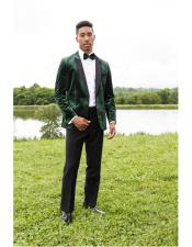 Green Peak Lapel Single Breasted One Chest Pocket Tuxedo