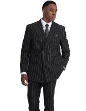 Double Breasted Black Button Closure Poly ~ Rayon Peak Lapel Vested Suit