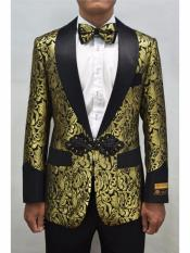 Nardoni Brand Mens Gold & Black Mens Prom Blazer Fashion Sport