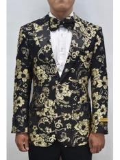 Mens  Flap Two Front Pockets Fashion Gold & Black Sport Coat